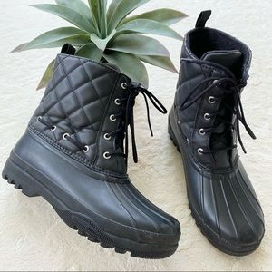 Sperry black quilted duck boots woman's 9